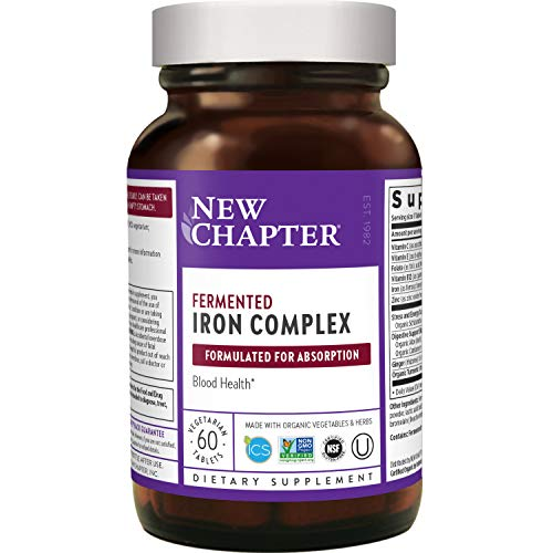 Iron Supplement, New Chapter Fermented Iron Complex (Formerly Iron Food Complex) with Organic Whole-Food Ingredients + Promotes Healthy Iron Levels + Non-Constipating - 60 ct (Packaging May Vary)