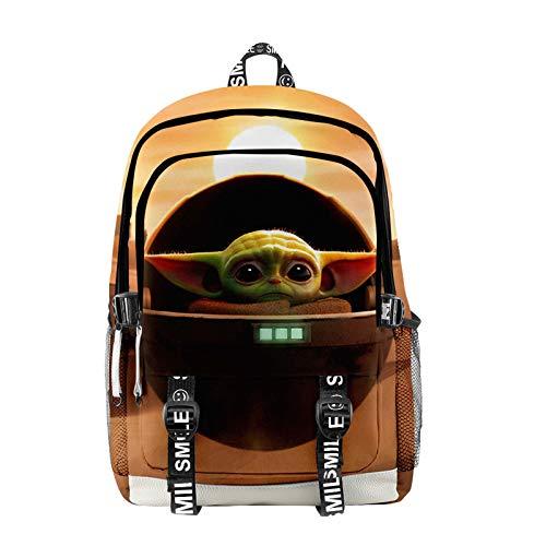 KK.YY Mochila Baby Yoda,Star Wars The Mandalorian Baby Yoda Juego Mochila Impresiones de Dibujos Animados en 3D Impresión Estudiantes Escolares de Bolsas Adolescentes Casual Mochilas