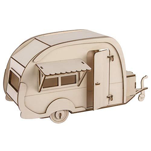 Rayher 62858505 Holzbausatz Wohnwagen, FSC zertifiziert, natur, 36 x 18 x 15 cm, 40teilig, zum basteln und bemalen