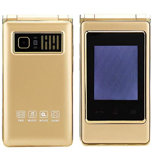 2G Teléfono Simple para Ancianos con Teclas Grandes, Doble SIM Teléfono Plegable con Pantalla Táctil, Teléfono Básico Fácil de Usar para Personas Mayores, Pantalla de 3.1 Pulgadas/Memoria (Oro)