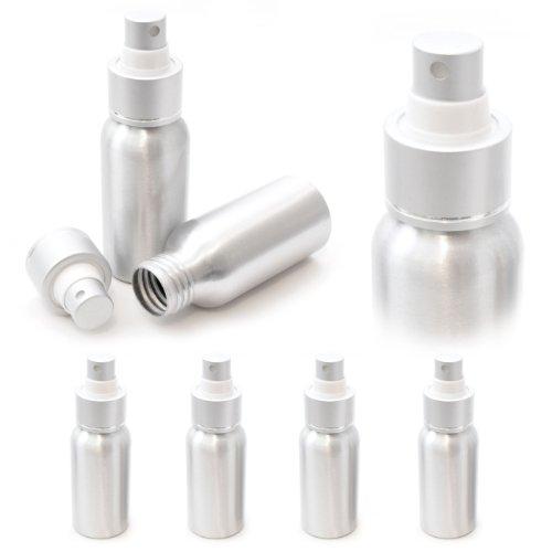 4er Set Aluminium Zerstäuber 50ml, Reise-Sprühflasche mit Zerstäuberpumpe, Farbe: Silber - Marke Ganzoo