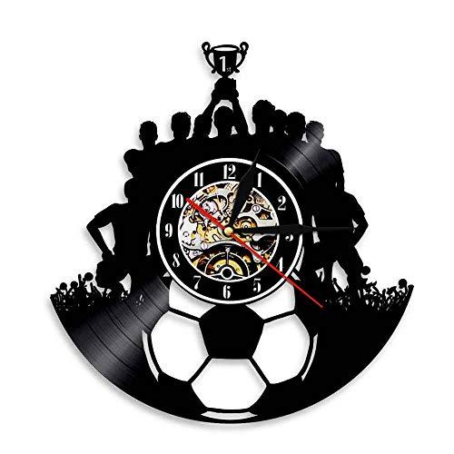 Fútbol Disco de Vinilo Reloj de Pared Decoración de Pared Equipo de fútbol Campeón Arte de la Pared Deporte Disco de Vinilo Vintage Reloj Triumph Souvenir Regalo Música Arte Relojes