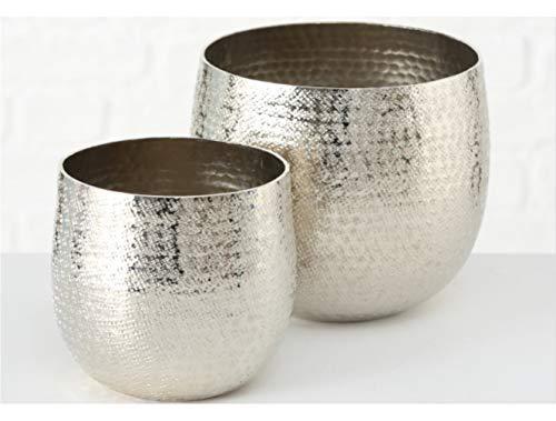 Meinposten Blumentopf Silber Metall Aluminium Pflanztopf Hammerschlag Deko Übertopf 2er Set Vase
