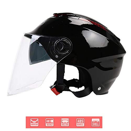 57 cm BHR Motorrad Helm 802 Demi-Typ mit Visier Versenkbare,Mattschwarz M