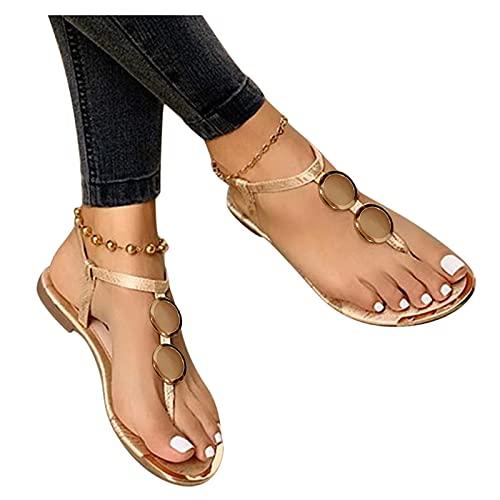 Sandales Plates Femmes, Confortables Orthopedique Chaussures Plateforme, Été Sandales Femmes Sandales Plates Toe T-Sangle Comfy Semi Trailer Sandales Chaussures de Plage