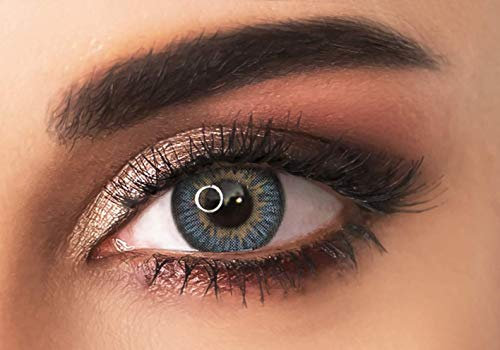 Farbige kontaktlinsen in HELLBLAU - 3 Farbtöne in der gleichen Farbe- 3 Monaten- ohne Stärke + gratis Kontaktlinsenbehälte ADORE - TRI LIGHT BLUE