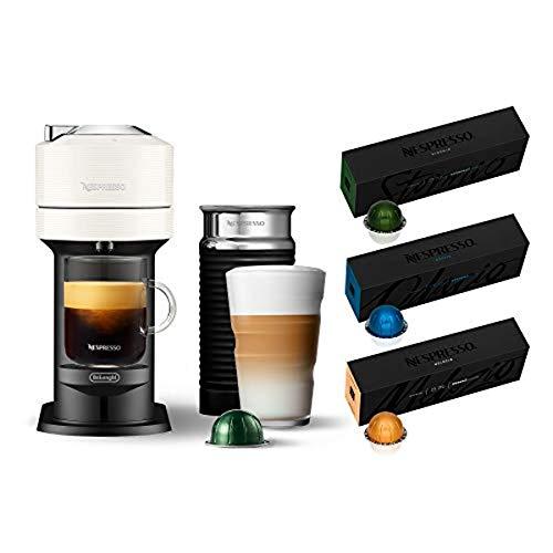 Nespresso Vertuo Next Coffee and Espresso Machine by De'Longhi, White w/Aeroccino Milk Frother, One Touch Brew, Single-Serve Coffee and Espresso Maker