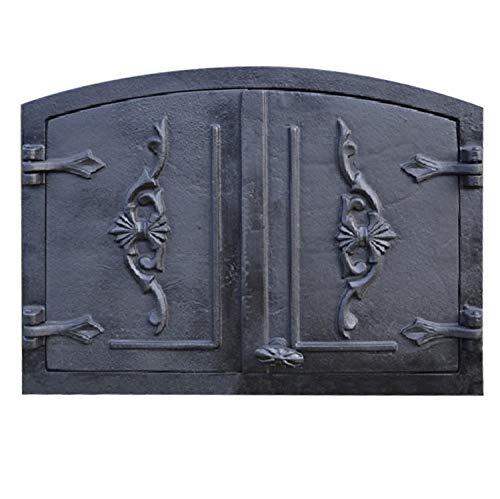 PUR Schamotte Ofentür aus Gusseisen 55,5 x 41 cm schwarz