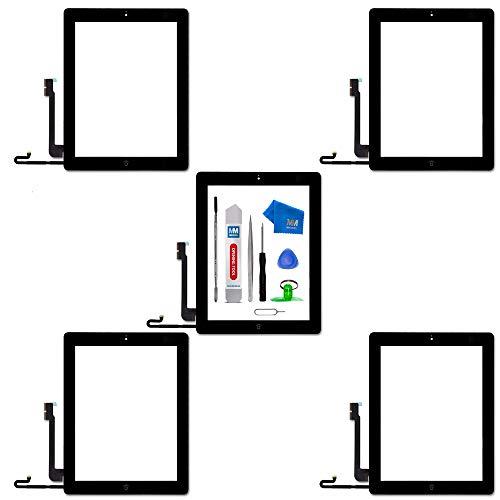 MMOBIEL Paquete de 5 Digitalizador Pantalla Táctil Frontal Compatible con iPad 4 9.7 pulg. 2012 (Negro) Incl. Herramientas