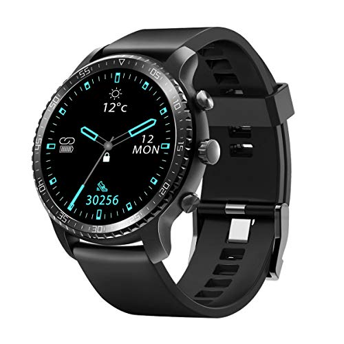 Tinwoo Smart Watch for Android / iOS Phones Health Tracker with Heart Rate Monitor Bluetooth Sports Monitor Tracker GPS Digital Smartwatch for Women Men 5ATM Waterproof TPU Band Black