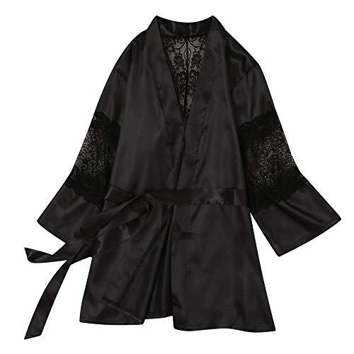 DamenDessousKimono,Sexy Spitze Kimono Babydoll Brautkleid Bademäntel Nachtwäsche Homewear Nachtkleid Satin Roben Modekleid Brautjungfer Robe, Schwarz, XL