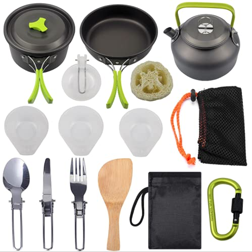Bongba Camping Picnic Cookware Set, Camping kitchen set Include Cookware Pot Set, Carabiner, Bottle Opener, Cutting Board