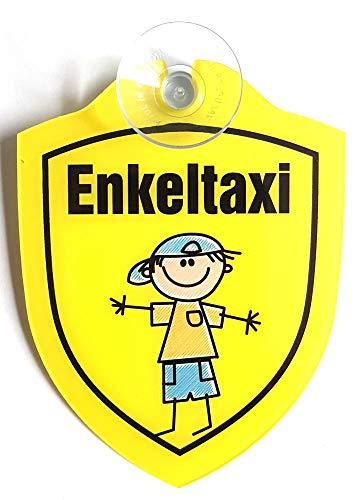 Schilder Lustige Windschutzscheibe inkl. Saugnapf/Autoschilder-Baby on Bord,Enkeltaxi (Enkeltaxi Junge)
