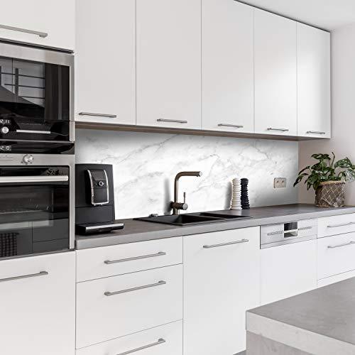 Dedeco Küchenrückwand Motiv: Marmor V1, 3mm Acrylglas Plexiglas als Spritzschutz für die Küchenwand Wandschutz Dekowand wasserfest, 3D-Effekt, alle Untergründe, 260 x 60 cm
