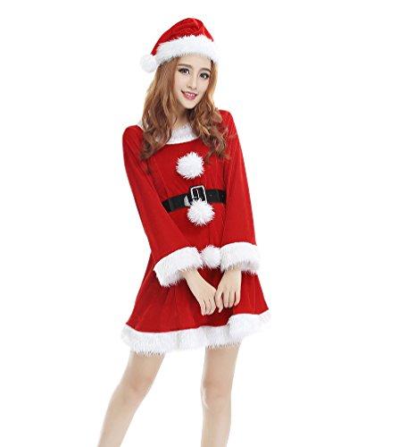 YOUJIA Donne Regalo Manica Lunga Costume da Babbo Natale di Cosplay del Vestito di ballo con Cintura e Cappello (Rouge)