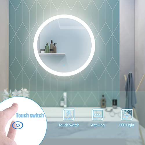 Elegant 24 in. Round Frameless Wall Mirror Touch Switch, Bathroom Vanity Circle Mirror with Lights Wall Mounted LED Anti-Fog, Natural White