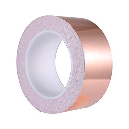 Zalava 50mm X 25M Kupferband Kupferfolienband EMI Kapton Tape Abschirmband Kupferfolie Kupferband Selbstklebend Klebeband Schneckenband Schneckenschutz (50mmX25M)