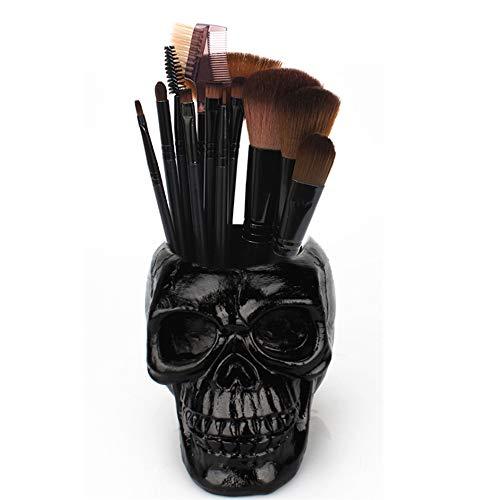 Skull Pen Holder Skull Makeup Brush Holder Pen Holder Dressing Table Office Desk Storage Box Green Plant Flower Pot Halloween Skull(Black)