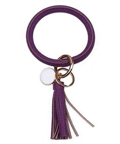 PU-Leder Schlüsselanhänger Armbänder Kette Schlüsselanhänger, Leder Quaste Armband Runde Schlüssel Unisex Schlüsselanhänger (lila)