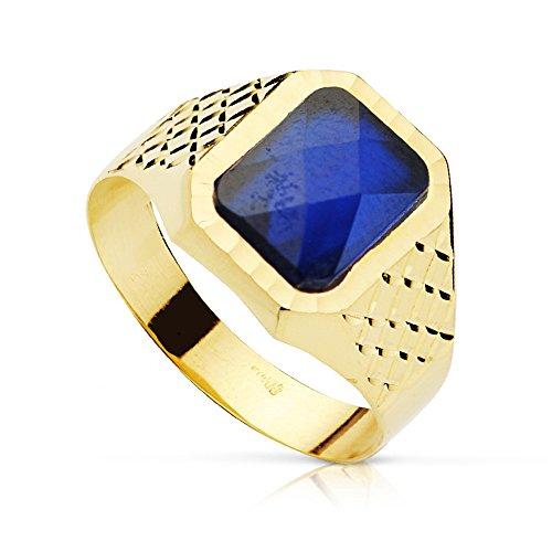 Chevalière Bague Hommes Pietro Spinelle Bleu Or Jaune 18 ct 750/1000