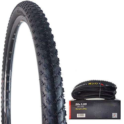 Wxnnx Mountain Bike Wire Bead Tires - All Terrain, Stab-Resistant and Foldable, Replacement MTB Bike Tire (26', 27', 29'),26X1.95 inch