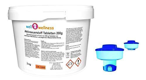 well2wellness Aktivsauerstoff Tabletten 200g Sauerstofftabletten O²-Tabletten 200g chlorfrei 3,0 kg + Dosierer mit verstellbarem Fuß
