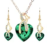 Cristal De Las Mujeres De La Piedra Preciosa Brillante Cadena De La JoyeríA del Collar Pendiente del Perno(Verde)