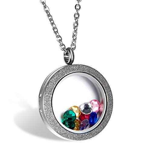 JewelryWe sieradenhanger voor dames, mat, krultje, fotolijst, bedeltjes, voor geboorte, roestvrij staal, modesieraad, met cadeauzakje, kleur zilver