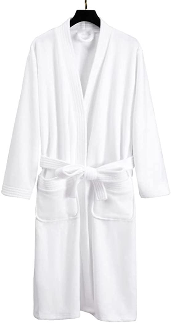 Robes Men's 100% Cotton Lightweight Knee Length Terry Towel Hooded Shawl Collar Robe Pajamas Bathrobe-White_One Size