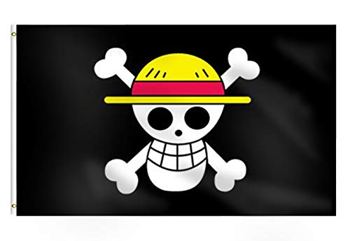 Pirate Luffy's Straw Hat Pirate Banner,Jolly Roger Pirate with Straw Hat Flag 3x5 Ft-Large House Flags with 2 Brass Grommets Holiday Banner Polyester Vivid Color and UV Fade Resistant Decorations