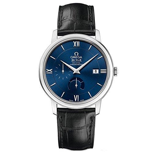 Omega De Ville Prestige Blue Dial Black Leather Mens Watch 42413402103001