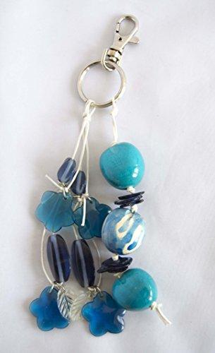 Porte-clés couple 16 cm avec Charms en tons bleu. Expédition gratuite 72H