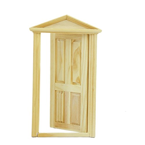 Newin Star Miniatur Tür, 1: 12 Puppenhaus Tür aus Holz Puppenhaus Zubehör Kinder Spielzeug