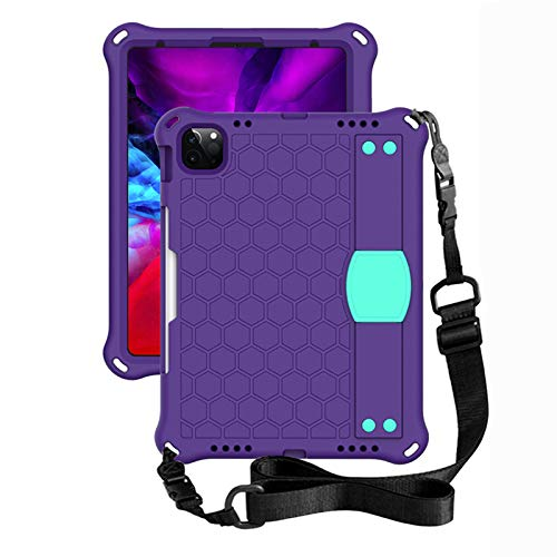 QZPM Kids Case for Ipad 9.7 Inch, Ipad 7Th/8Th Generation Case, Stand Cover Shockproof Kids Case with Adjustable Shoulder Strap,Purple