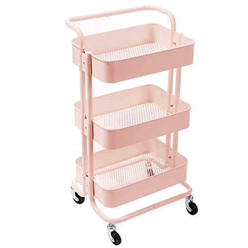 KYL Carro De Almacenamiento De 3 Niveles Estantera con Ruedas Auxiliar Verdulero Frutero Carrito De Almacenamiento para Organizador para Cocina Cuarto Bebés (Color : Pink, Size : 45 * 30 * 89cm)