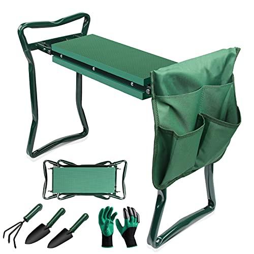 Ryosee Kniebank Gartenarbeit Gartenhocker klappbar Gartenbank Garten Arbeitshocker Sitzbank Gartensitz mit Werkzeugtasche