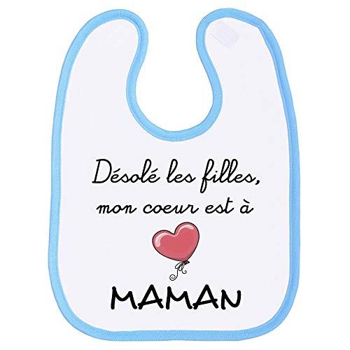 Bavoir garçon, bavette bébé, maman, amour, tendresse, scratch au cou, fête des mères, humour, extra couvrant - Bleu