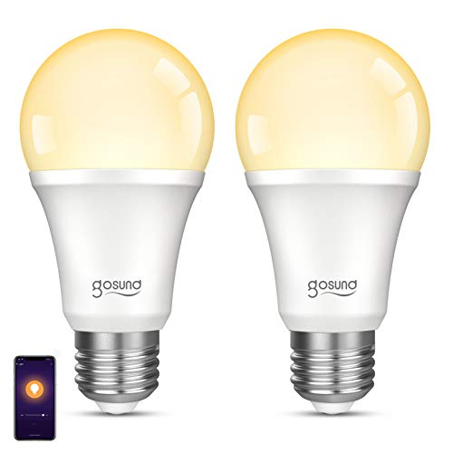 Gosund Smart Light Bulb Works with Alexa Google Home, Dimmable WiFi LED Light Bulbs, E26 A19 Warm White 2700K Bulb, No Hub Required, 8W (75W Equivalent), 2 Pack