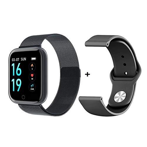 Metermall P70 Smart Watch Blood Pressure Measurement Heart Rate Monitor Fitness Bracelet Watch Women Men Smartwatch Support IOS Android black