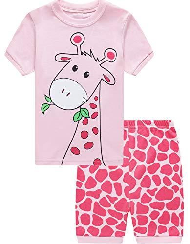 EULLA Mädchen Schlafanzug Kurz Einhorn Kinder Baumwolle Pyjama Schlafanzug Hosen Oberteile, 1-giraffe, 98/Herstellergröße:110