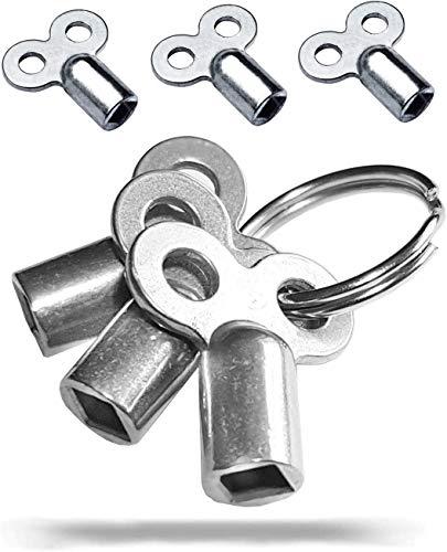 3x Entlüftungsschlüssel   Universal - alle Heizkörper   Robust   mit Ring   5mm   Zinklegierung   Schlüssel zum Entlüften   Lüften aller Heizungen möglich   radiator key   Entlüfter Heizung