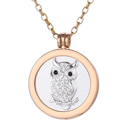 Morella Collana Donna 70 cm Acciaio Inossidabile Oro con Coins Moneta amuleto Ciondolo Rotondo 33 mm Gufo e zirconi Argento in Sacchetto di Velluto
