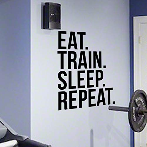 EAT TRAIN SLEEP REPEAT Gym Wall Decal Motivational Quote-Health and Fitness Spinning Kettlebell Work
