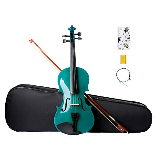 ARTALL 4/4 Handmade Student Acoustic Violin Beginner Pack with Bow, Hard Case, Chin Rest, Spare Strings, Rosin and Bridge, Glossy Green