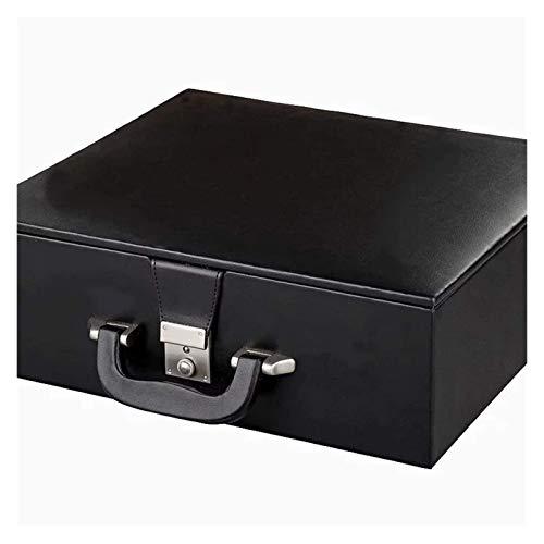 SHBV Caja de Almacenamiento Hecha a Mano de Cuero/Estuche para Piezas de ajedrez Staunton de 4.2-4.8in - Piezas de ajedrez no Incluidas (Color: Negro)