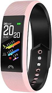 WJFQ Reloj Inteligente Reloj Bluetooth Impermeable IP68 Deportes Pulsera Inteligente SmartWatch Fitness Actividad Tracker con monitores de presión de oxígeno en Sangre for iOS Android (Color : Pink)