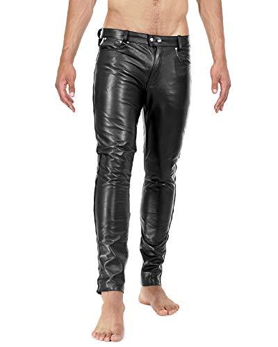 Bockle® 1991 Röhre Lederhose Herren Leder Jeans Tube Röhre Skinny Slim Fit Herren, Size: W33/L34