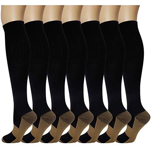7 Pairs Copper Compression Socks for Men Women 20-30 mmhg Knee High Stockings