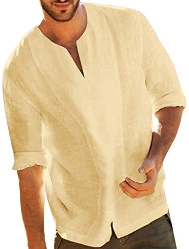 Ericcay Leinenhemd Freizeithemd Herren Langarm Baumwolle Leinen Hemden Regular Fit Stehkragen V Ausschnitt Natur Vintage Fischerhemden Einfarbig Schwarz Langarmshirt 2020 Sommer