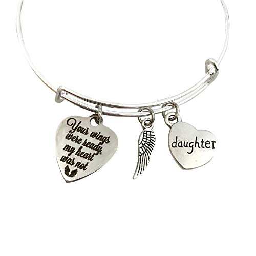 Memorial Gift for Loss of Daughter Bracelet, Your Wings were ready my heart was not